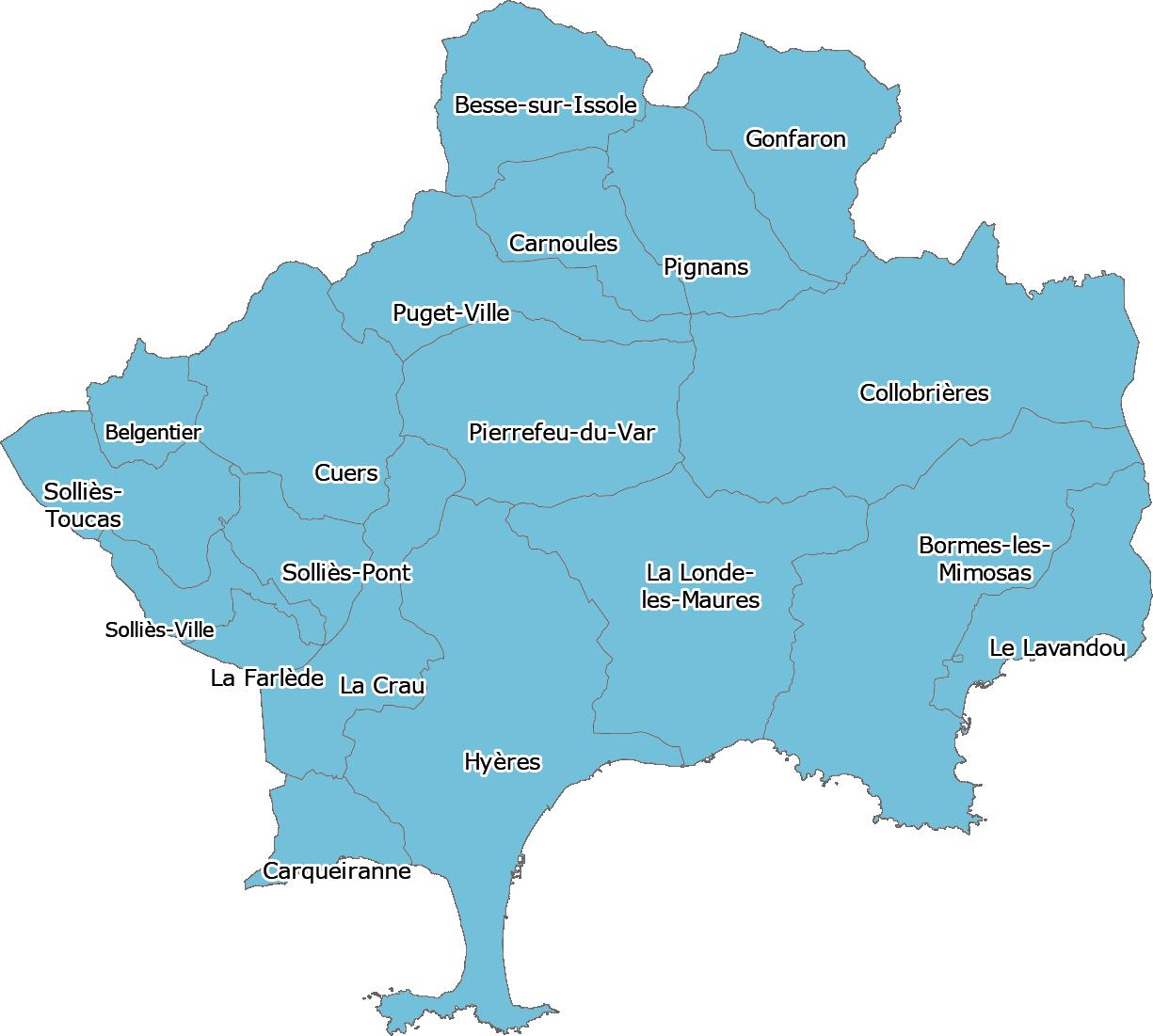 Carte territoire entre Solliès-Toucs, Besse-sur-Issole et Le Lavandou