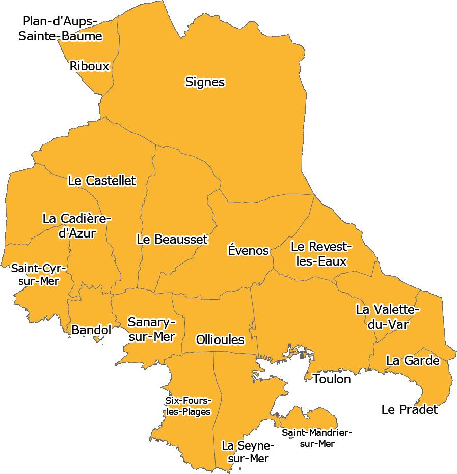 Carte territoire entre Sanary, Signes et La Garde